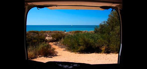 View from campervan at beach